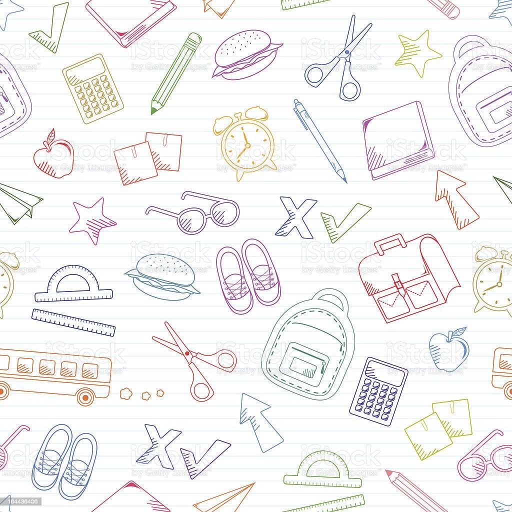 school doodles pattern vector art illustration