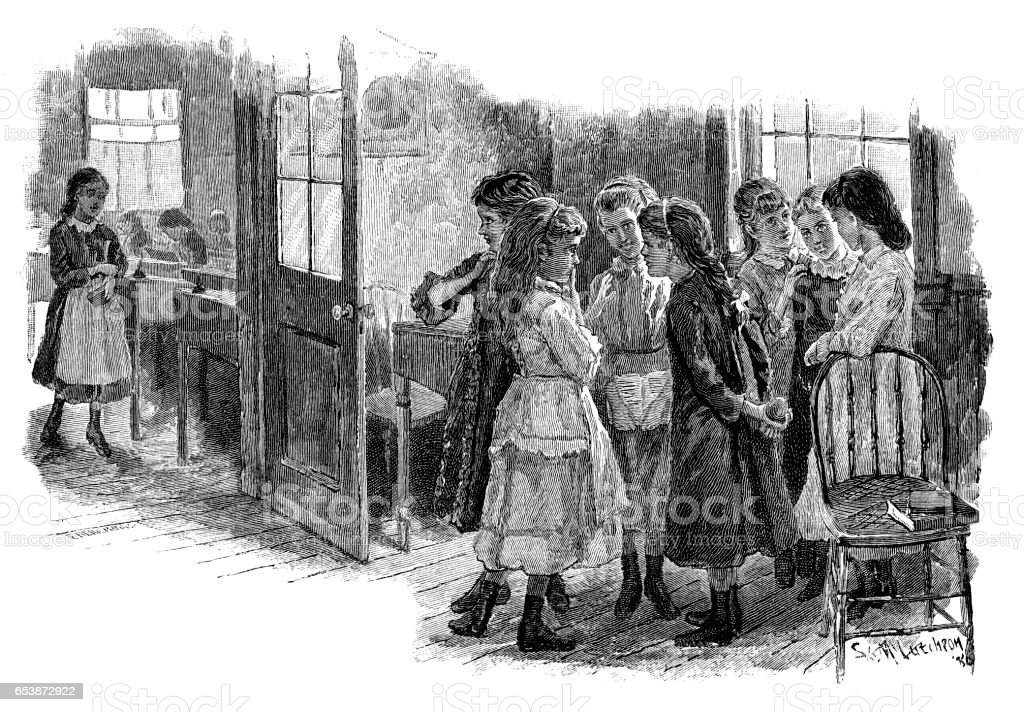 School girls chatting in the hall vector art illustration