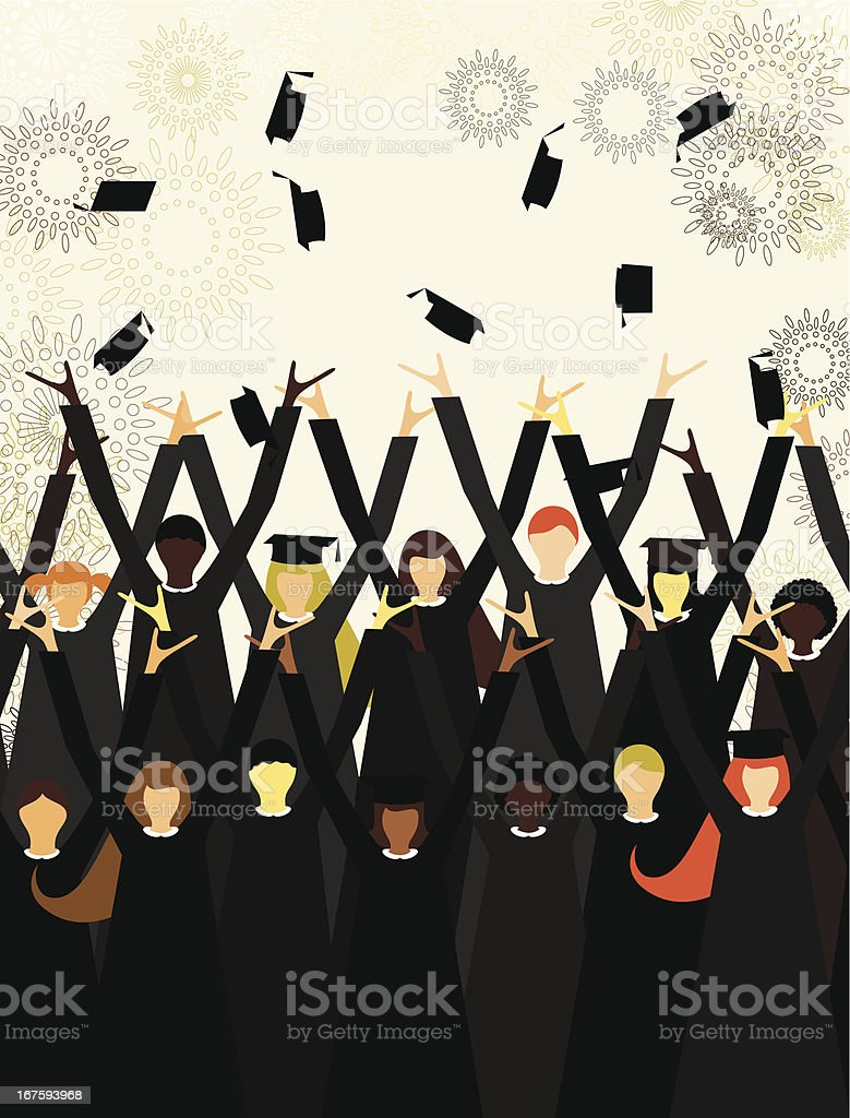 School graduation party vector art illustration