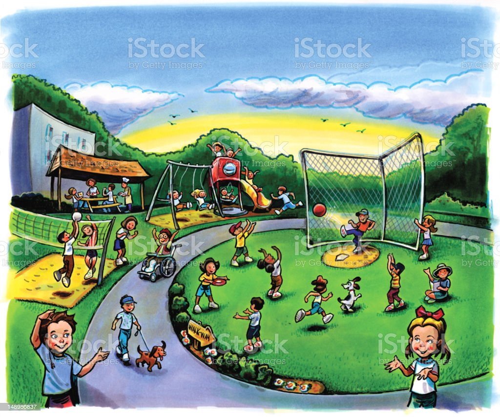 School Playground with Children royalty-free stock vector art