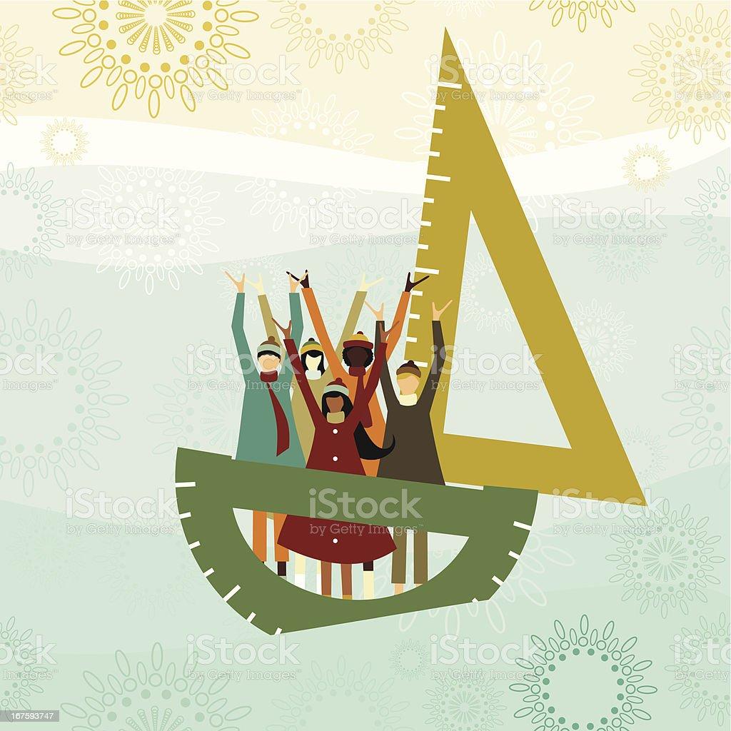 School sailboat vector art illustration