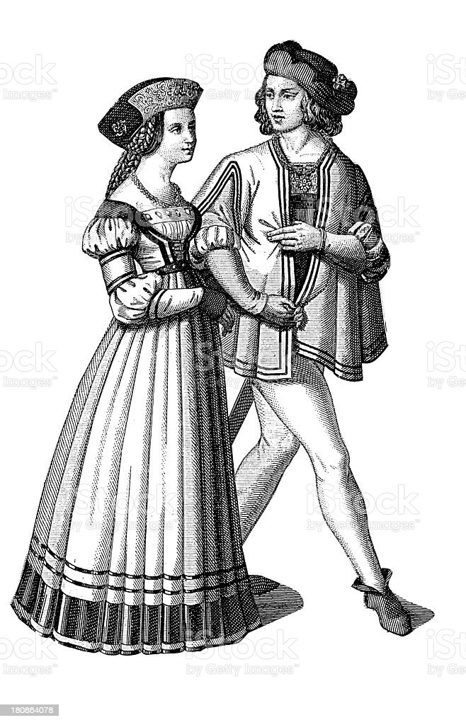 School uniform from XV century royalty-free stock vector art