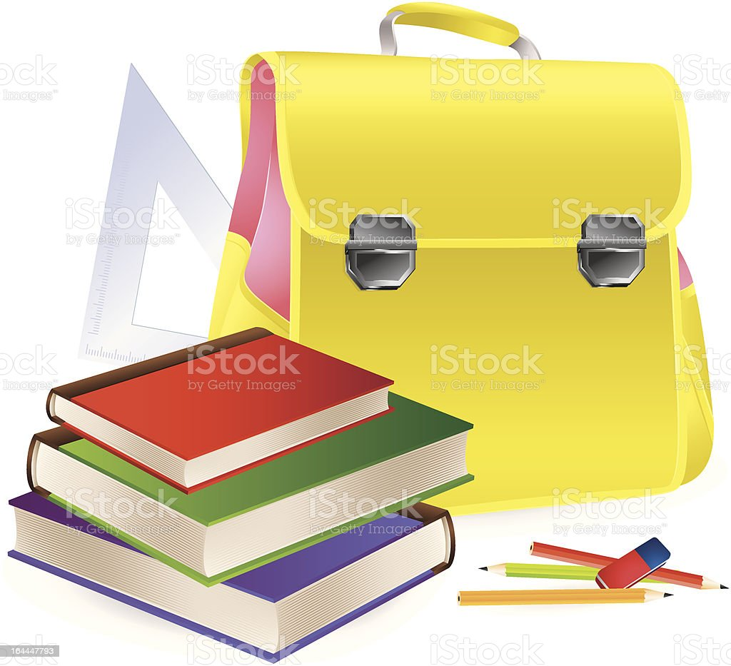 Schoolbag with school supplies royalty-free stock vector art