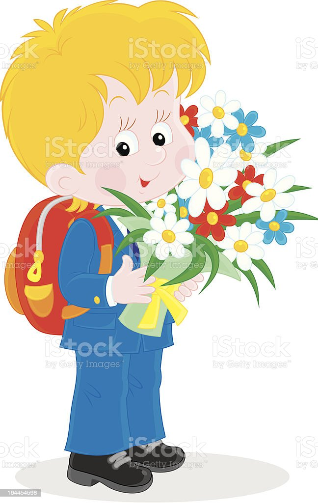 Schoolboy with flowers royalty-free stock vector art