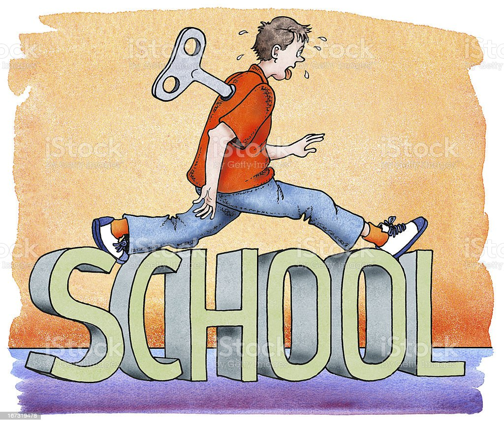 Schuljungesteigt über das Wort 'school'. royalty-free stock vector art