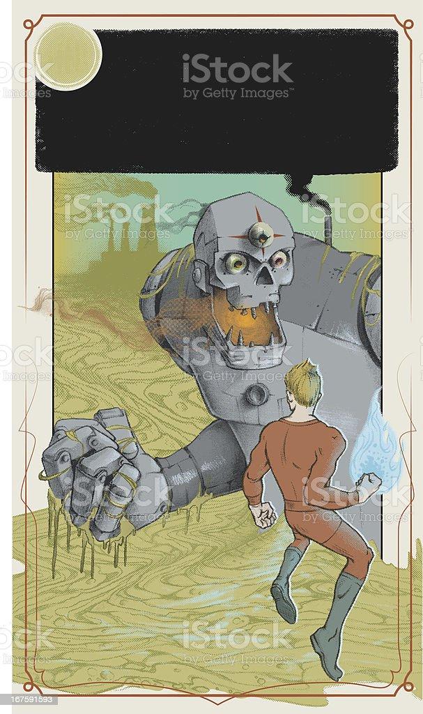 GIANT ROBOT sci fi book cover vector art illustration