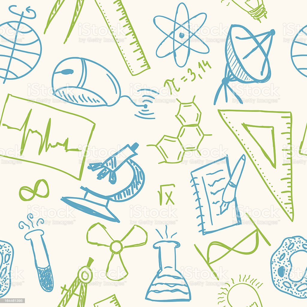 Science drawings  on seamless pattern royalty-free stock vector art