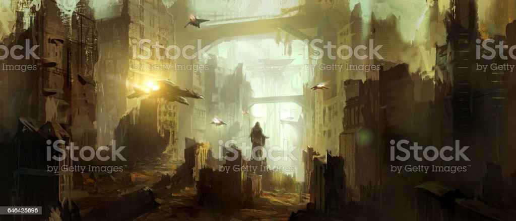 Science fiction scene. vector art illustration