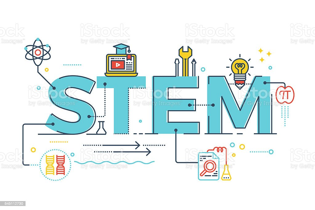 STEM - science, technology, engineering, mathematics vector art illustration