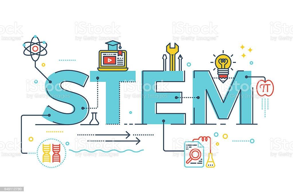 STEM - science, technology, engineering, mathematics vector art illustration