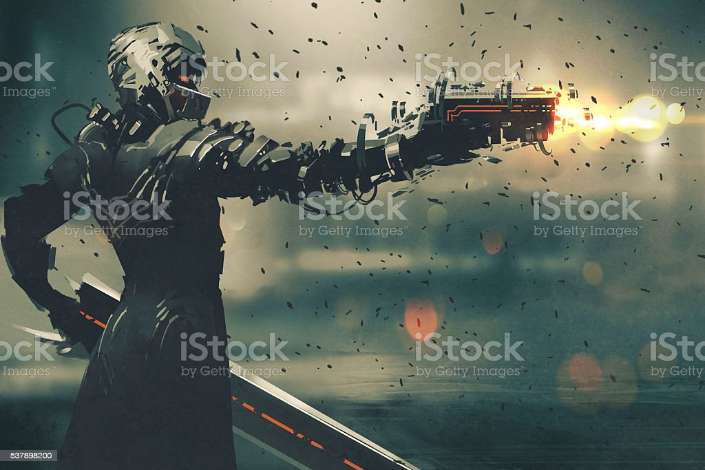 sci-fi character in futuristic suit shooting gun vector art illustration