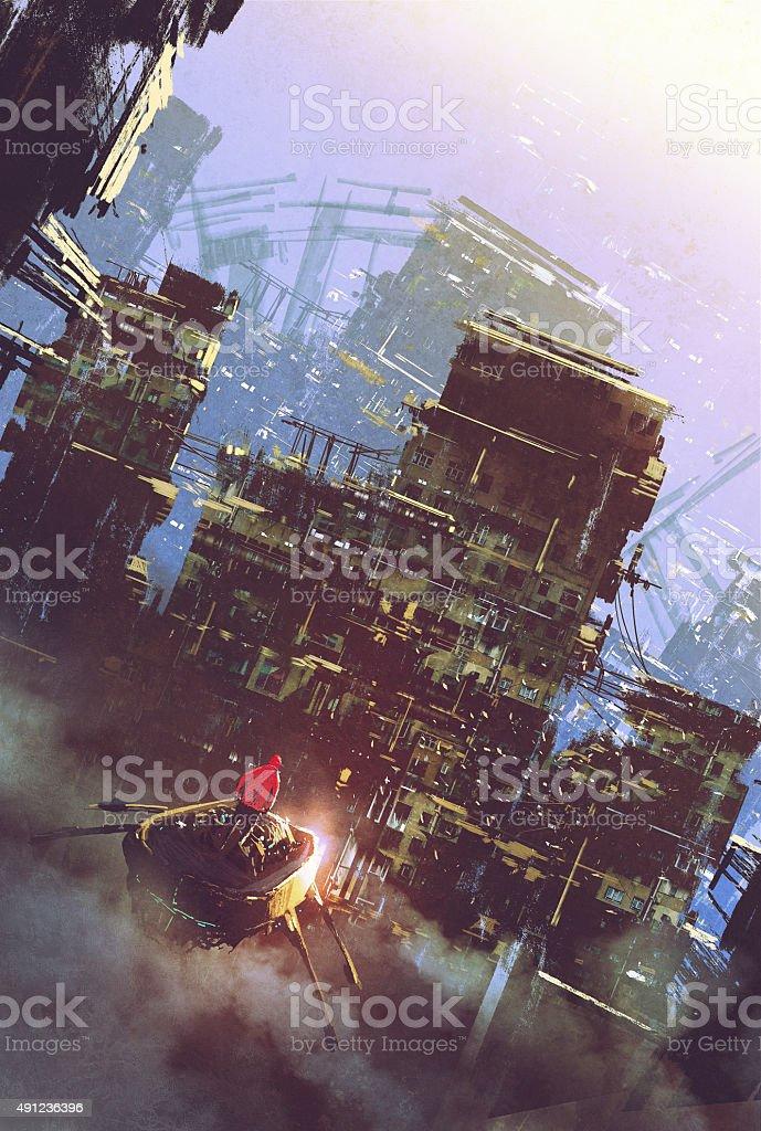 sci-fi scene of old building,cyberpunk concept vector art illustration