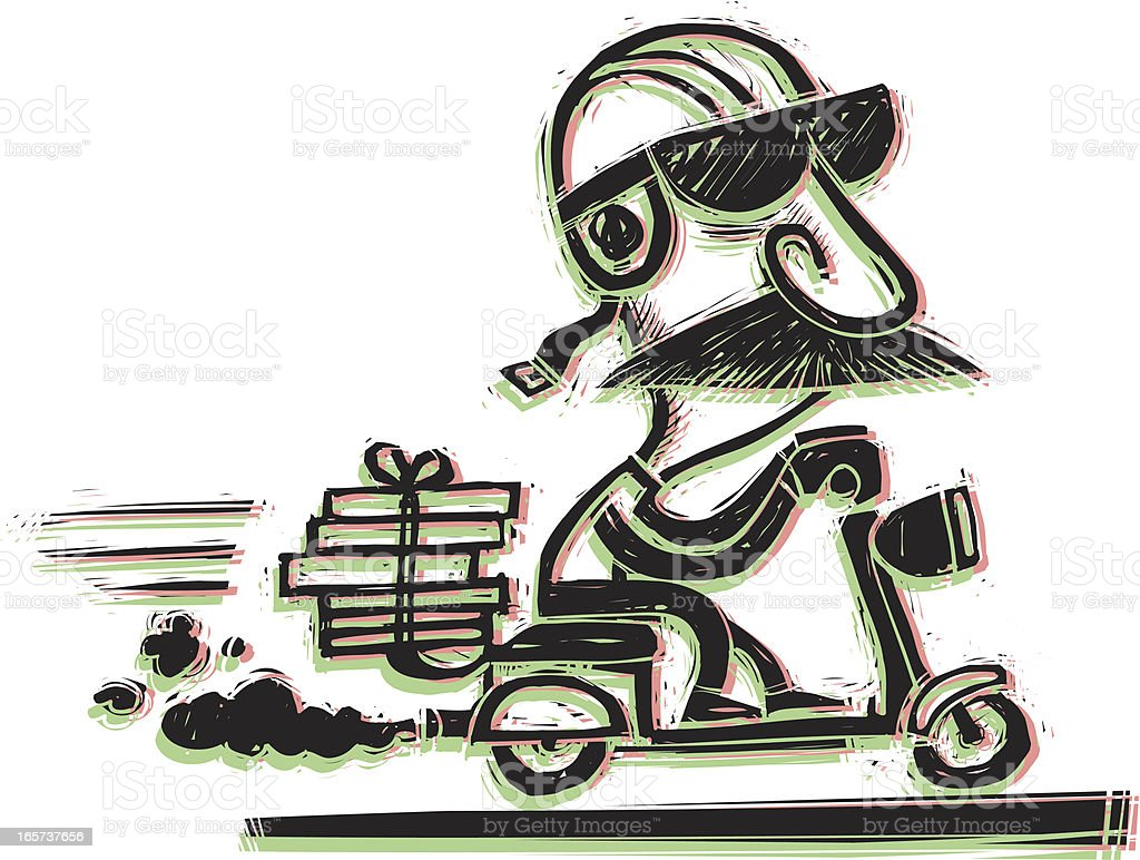 Scooter Delivery vector art illustration