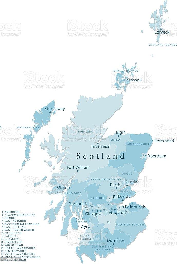 Scotland Vector Map Regions Isolated royalty-free stock vector art