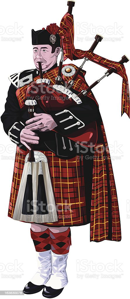 Scottish Bagpiper in No1 Dress Red tartan playing Bagpipes royalty-free stock vector art
