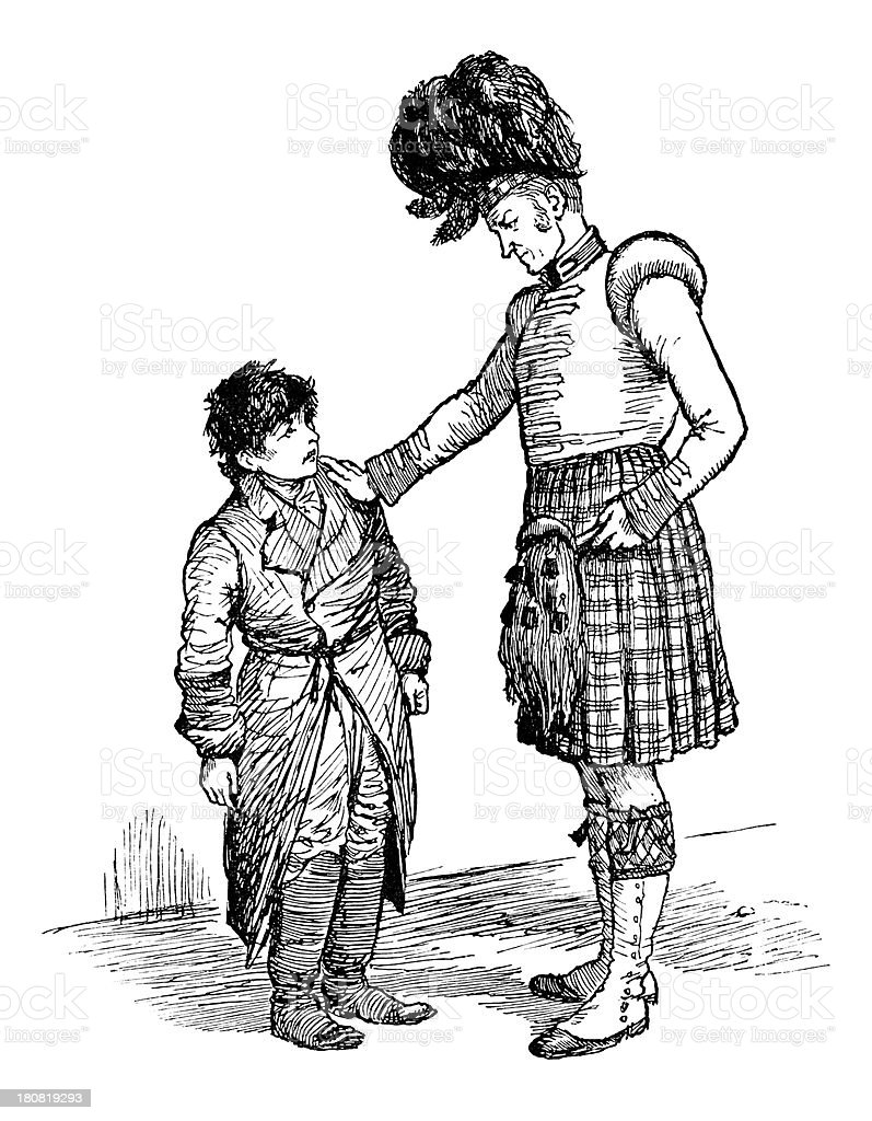 Scottish soldier talking to a boy vector art illustration
