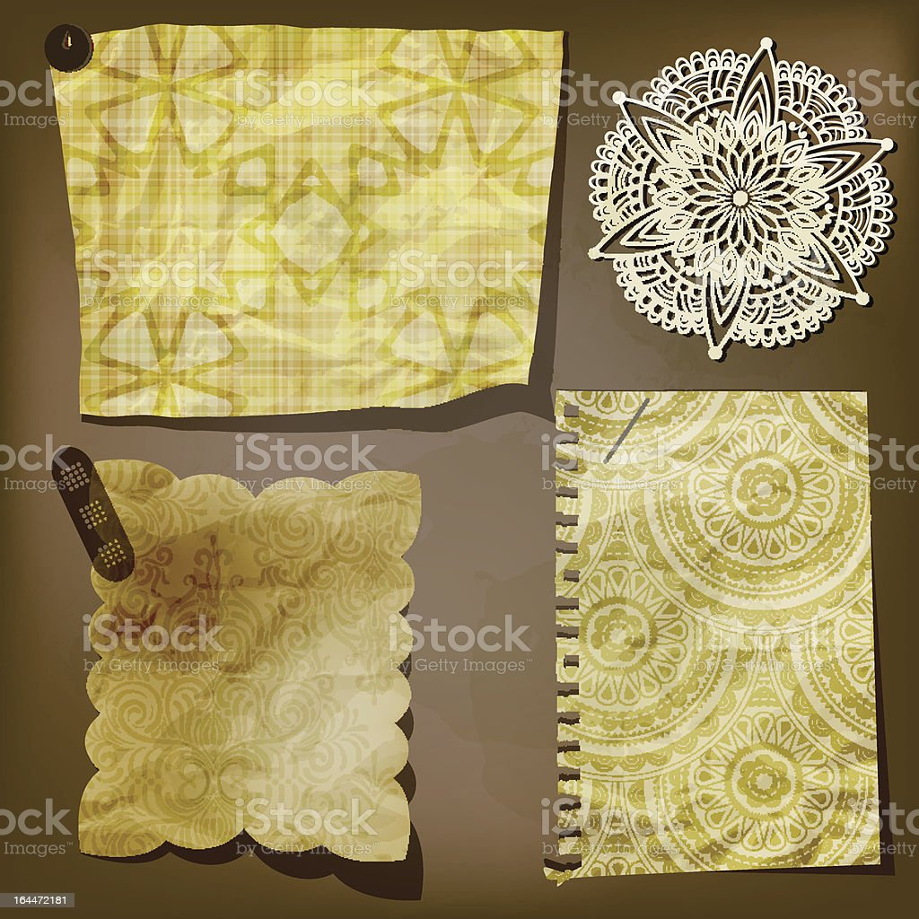 Scrap template of vintage paper pieces and lacy flower royalty-free stock vector art