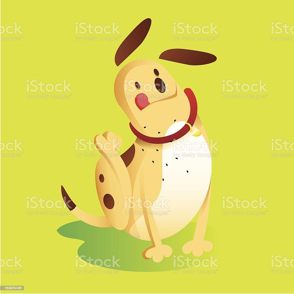 Scratching Dog vector art illustration