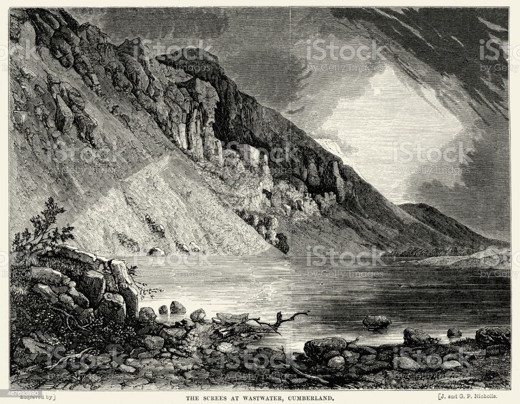 Screes at Wastwater Lake District National Park England vector art illustration