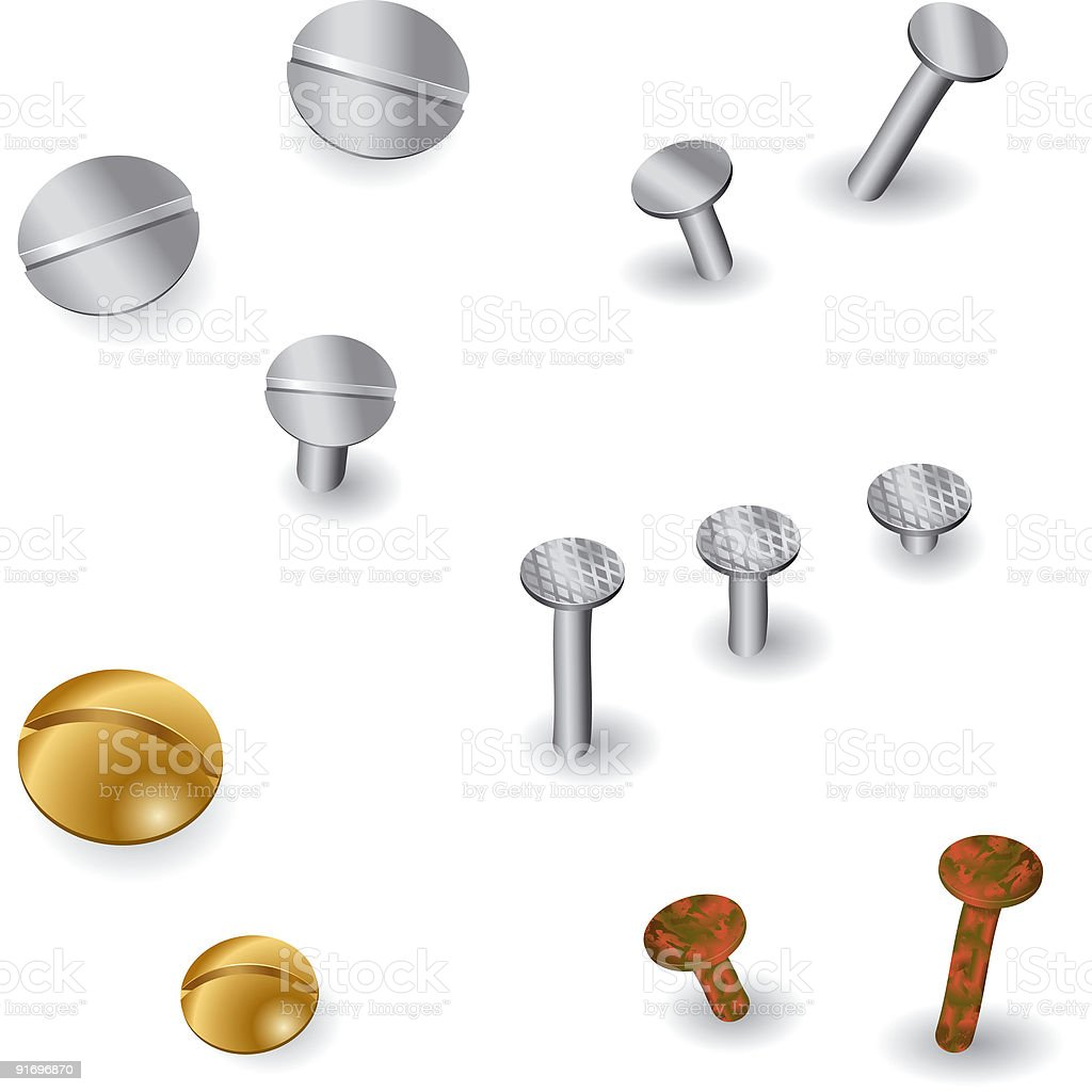 Screws and Nails, Metal, Rusty, DIY vector art illustration