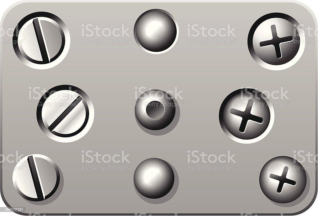 Screws and rivets vector art illustration