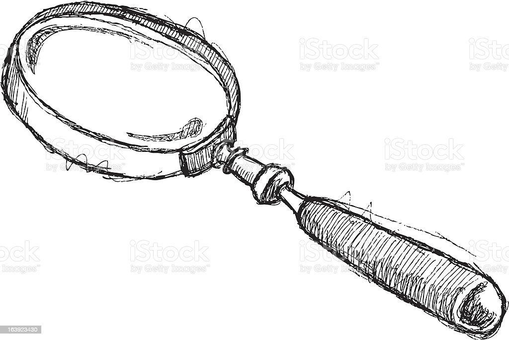 Scribble Series - Magnifying Glass royalty-free stock vector art