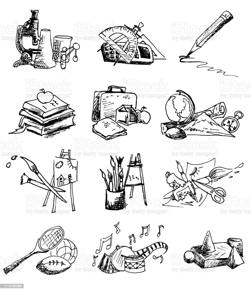 Scribbled School Icons vector art illustration