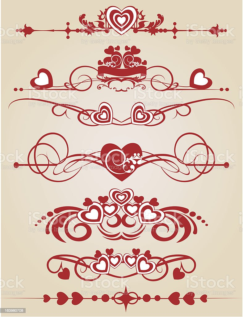 Scrolls and heart for your design. royalty-free stock vector art