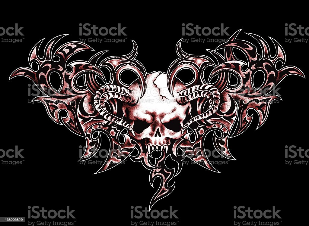 Scull and  tribal vector art illustration
