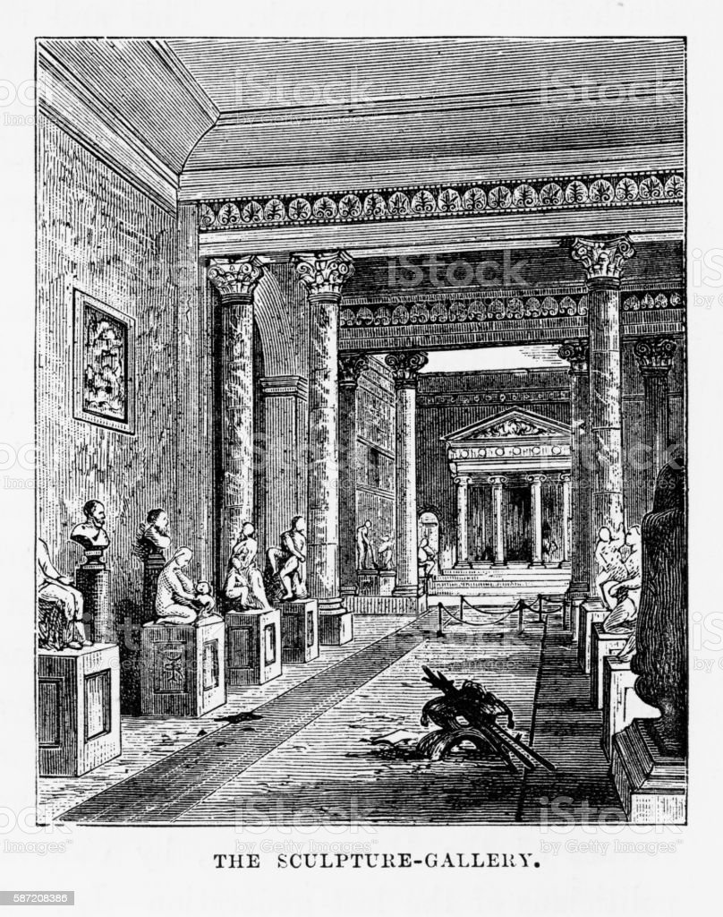 Sculpture Gallery, Woburn Abbey, Woburn, England Victorian Engraving, Circa 1840 vector art illustration