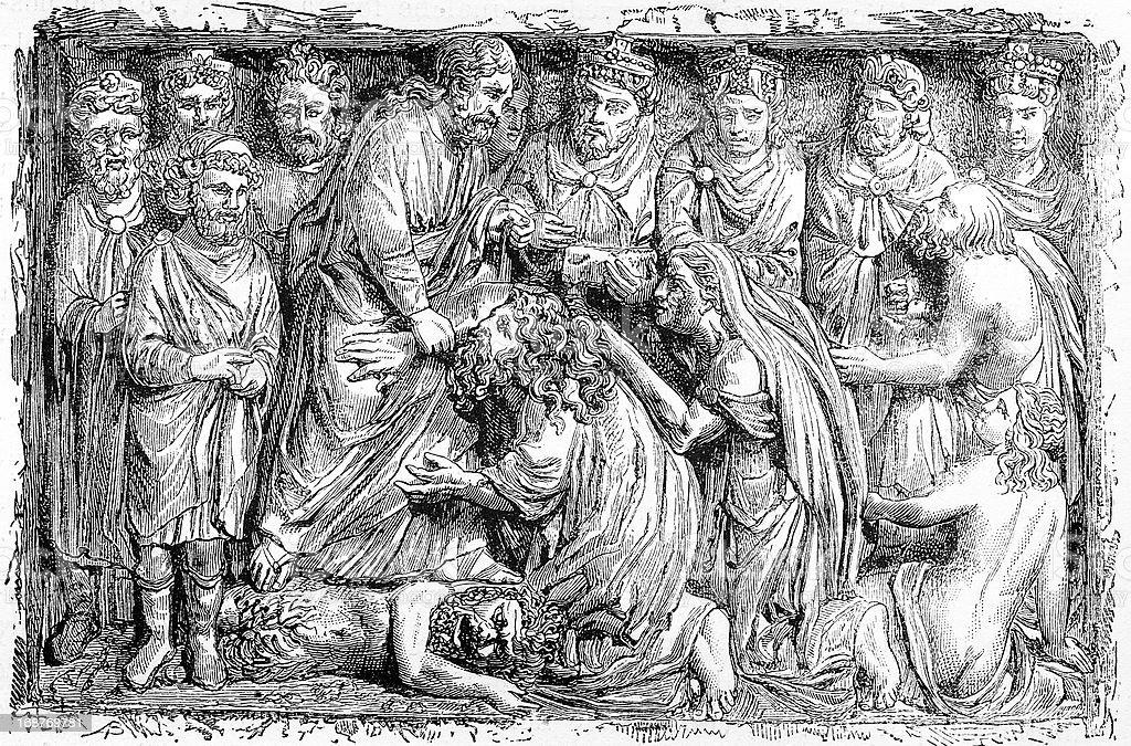 Sculpture in Pistoia's church vector art illustration
