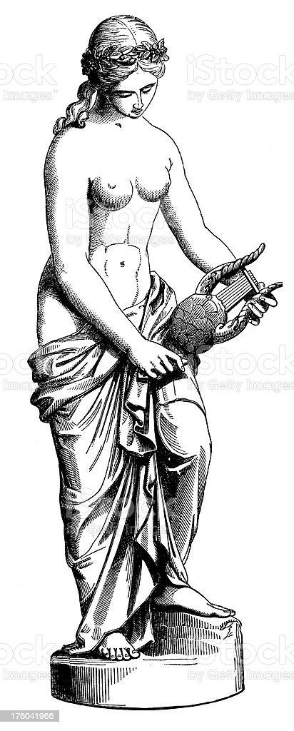 Sculpture of a Woman I Antique Design Gallery vector art illustration