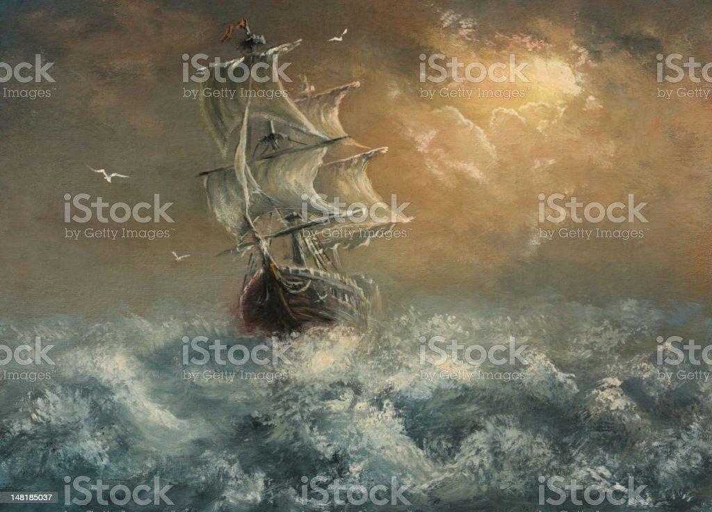 Sea adventures vector art illustration