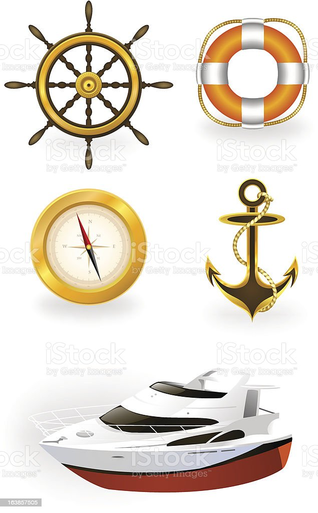 Sea and travel symbol set royalty-free stock vector art