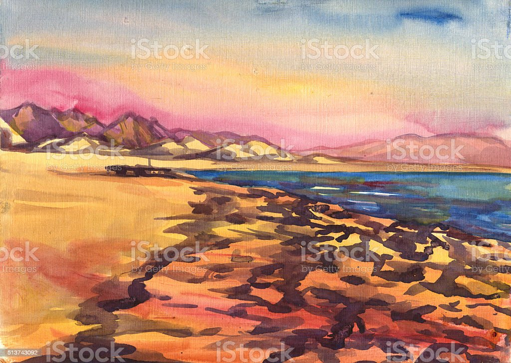 sea, beach, mountains. Landscape. Watercolor painting vector art illustration