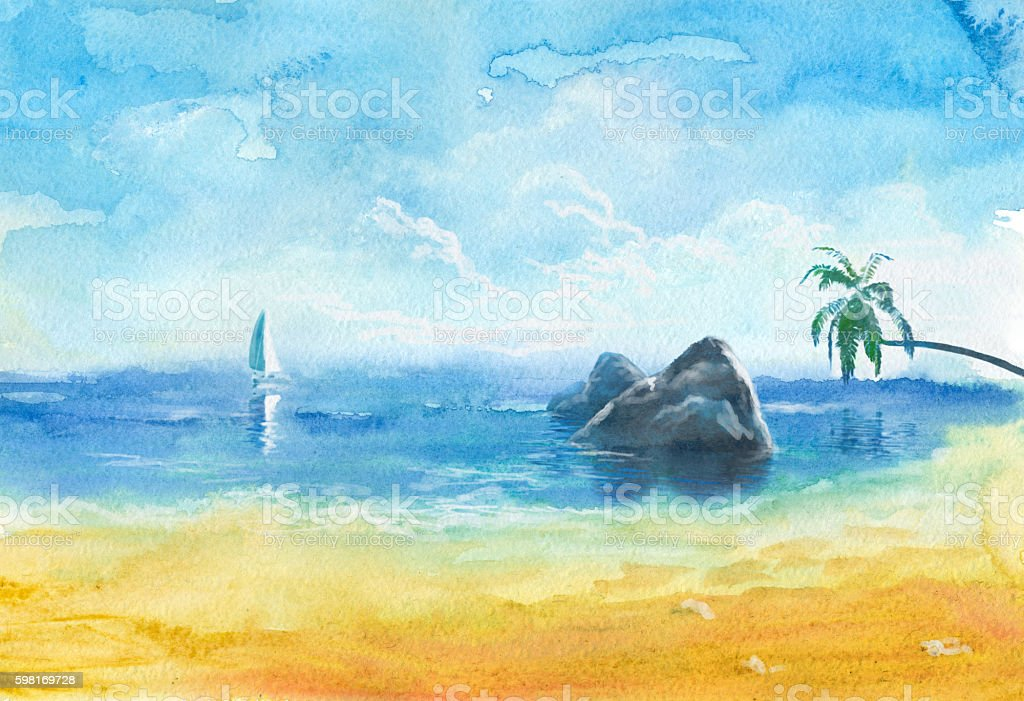 sea beach, watercolor painting vector art illustration