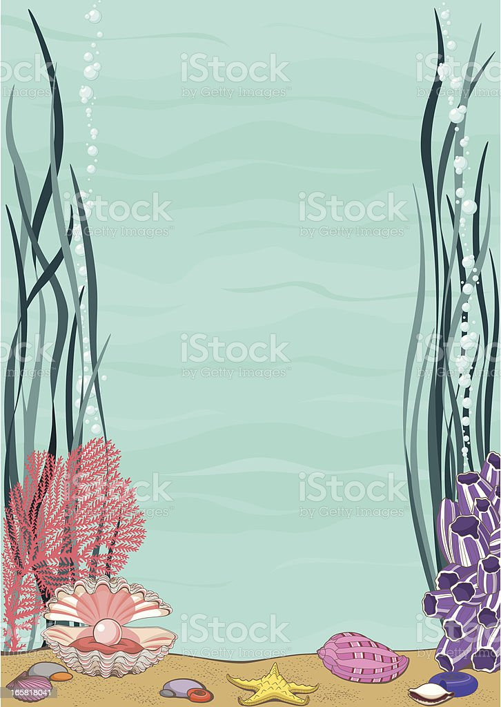 Sea Frame with Underwater Life royalty-free stock vector art