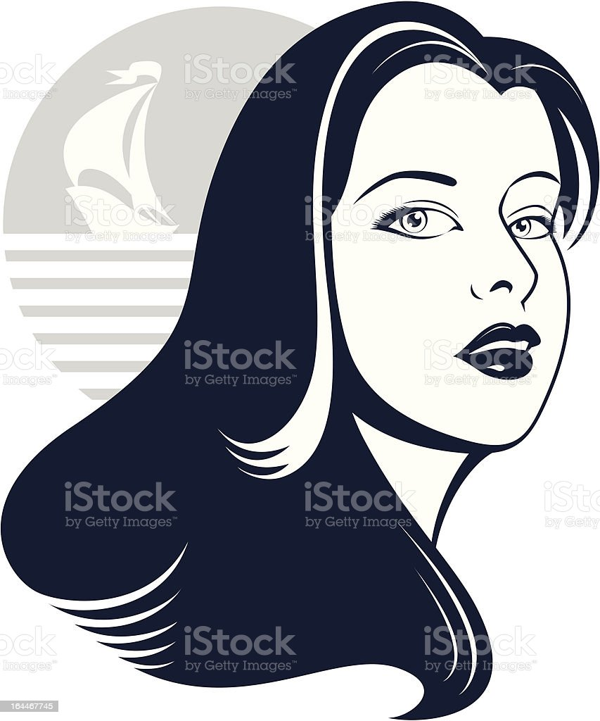 Sea girl with yacht silhouette royalty-free stock vector art