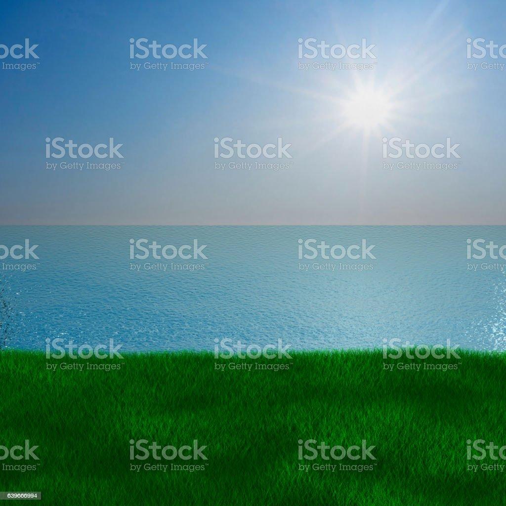 Sea landscape. 3D image vector art illustration