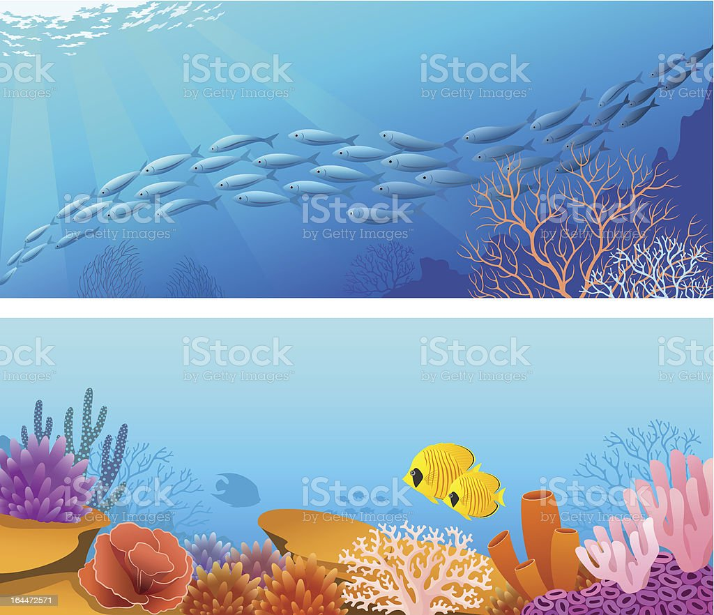 Sea life banners vector art illustration