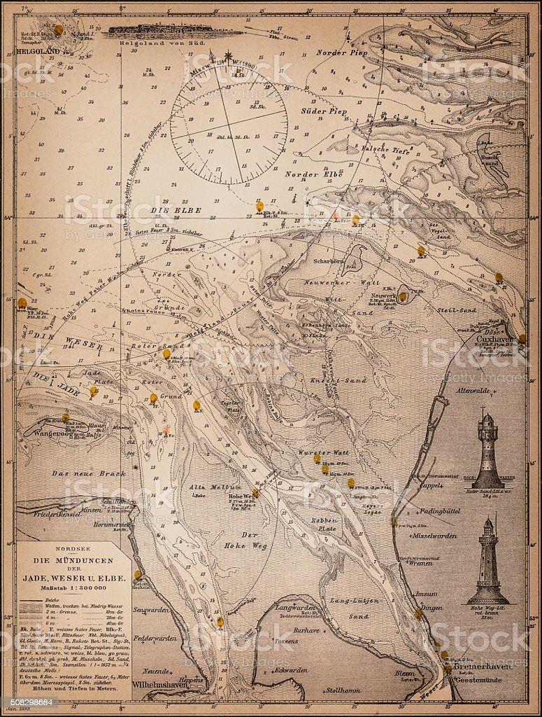 Sea Map vector art illustration