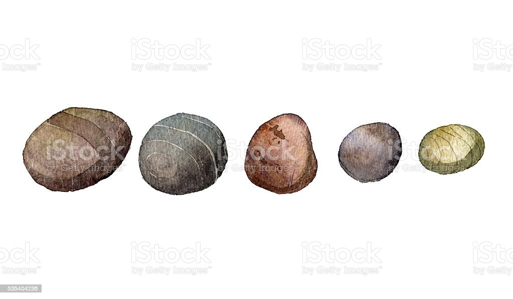 sea stones drawing in watercolor vector art illustration