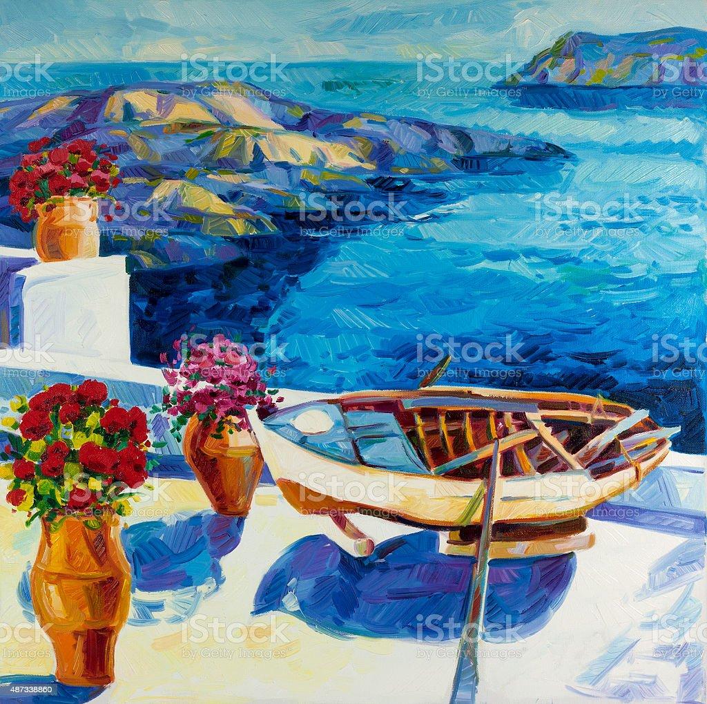 Sea view vector art illustration