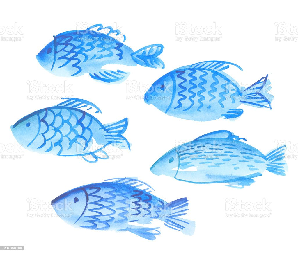 sea watercolor illustration. blue water hand drawn image. vector art illustration