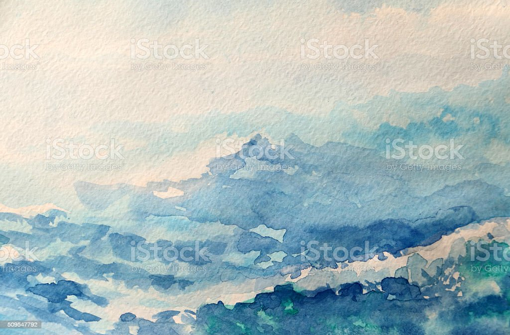 sea - watercolor painting vector art illustration