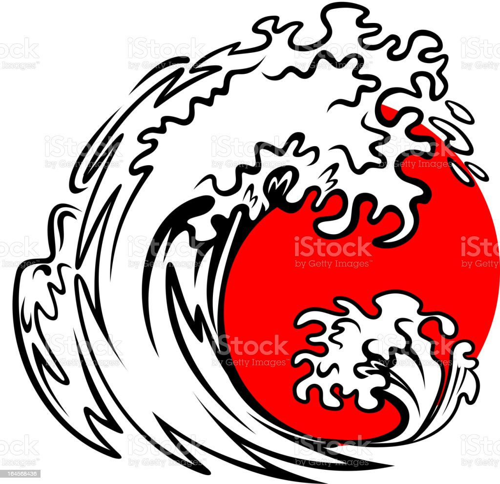 Sea wave and red sun royalty-free stock vector art