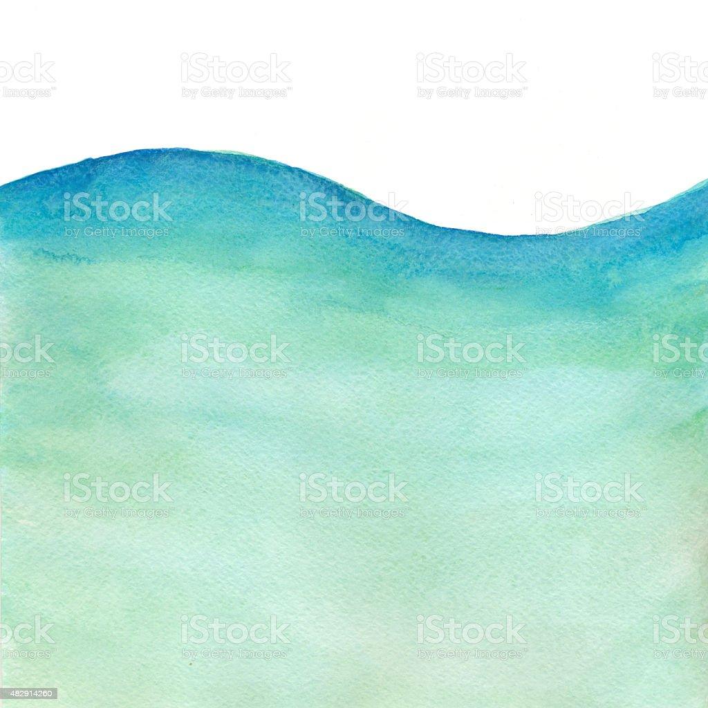 Sea Wave - Watercolor Background vector art illustration