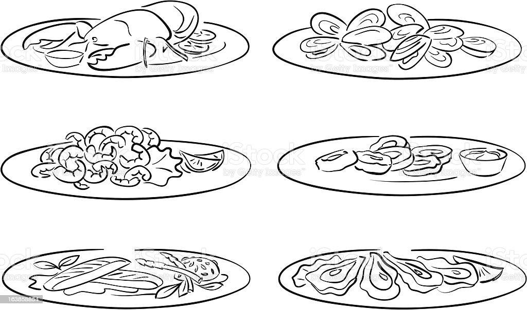seafood on plate vector art illustration