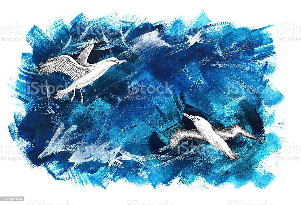 Seagulls on blue painted background vector art illustration