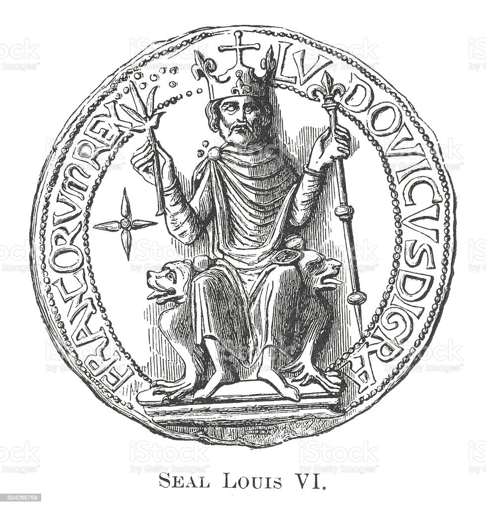 Seal Louis VI (antique engraving) vector art illustration